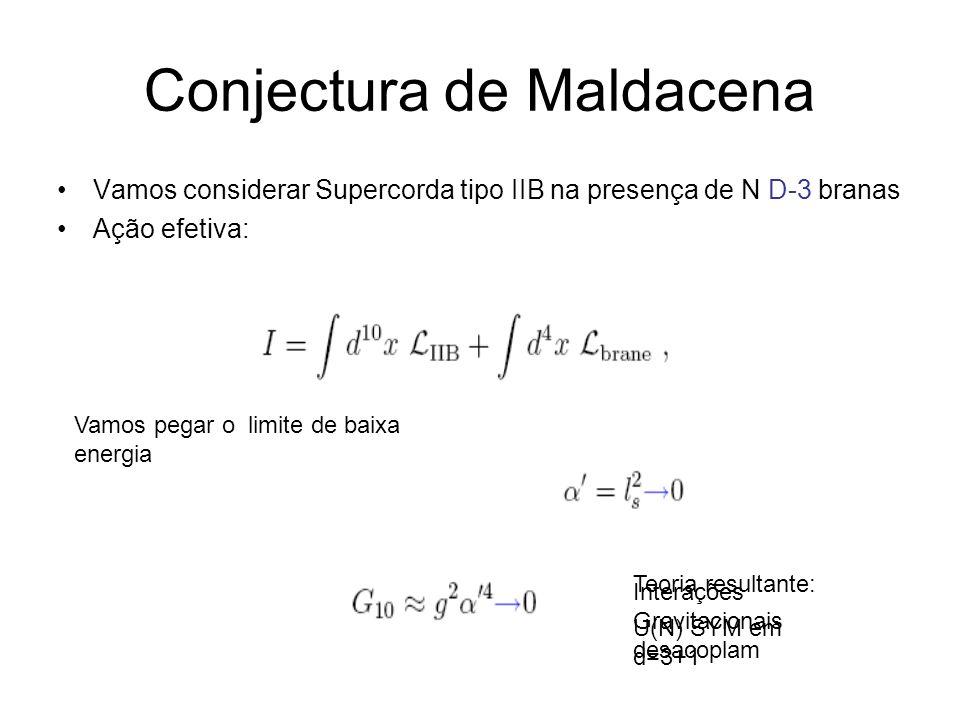 Conjectura de Maldacena Vamos considerar Supercorda tipo IIB na presença de N D-3 branas Ação efetiva: Vamos pegar o limite de baixa energia Interaçõe