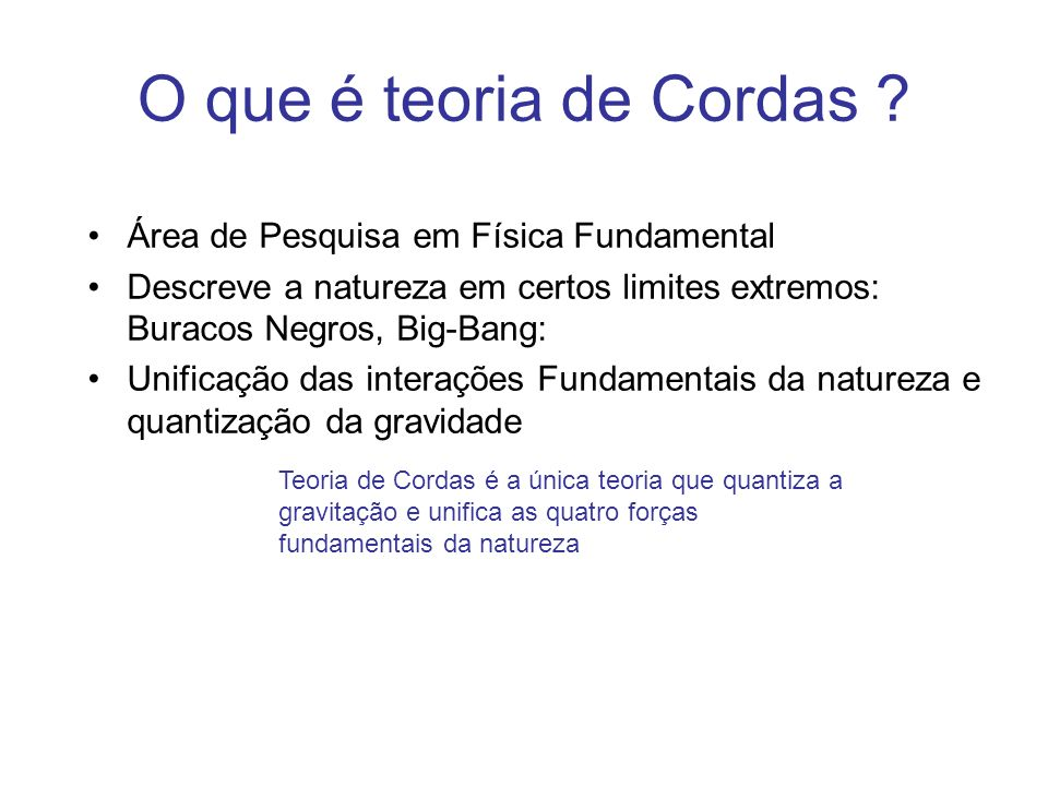 Conclusões Corda propagando no vácuo gera gravitação,todas as interações e todas as partículas de uma forma unificada.