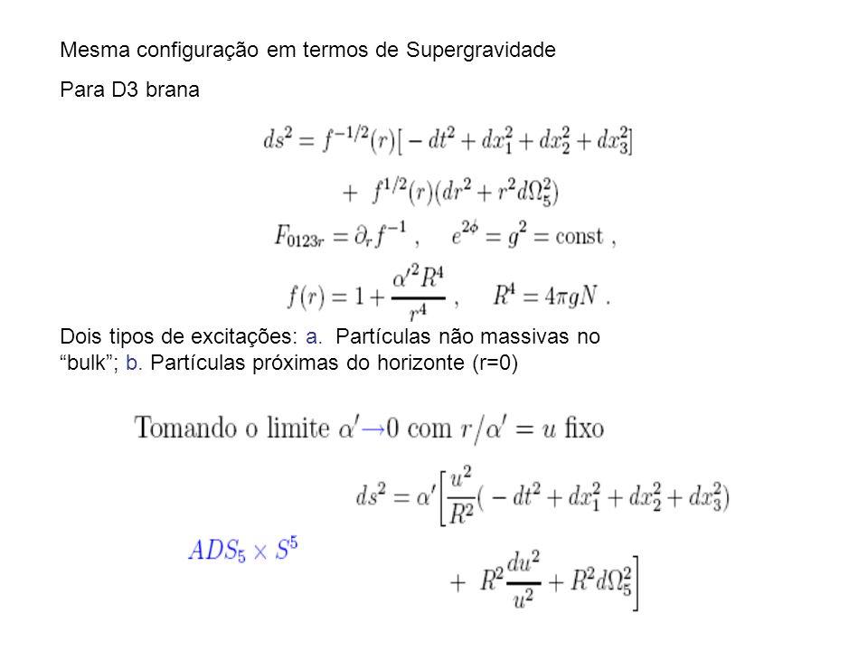 Mesma configuração em termos de Supergravidade Para D3 brana Dois tipos de excitações: a. Partículas não massivas no bulk; b. Partículas próximas do h
