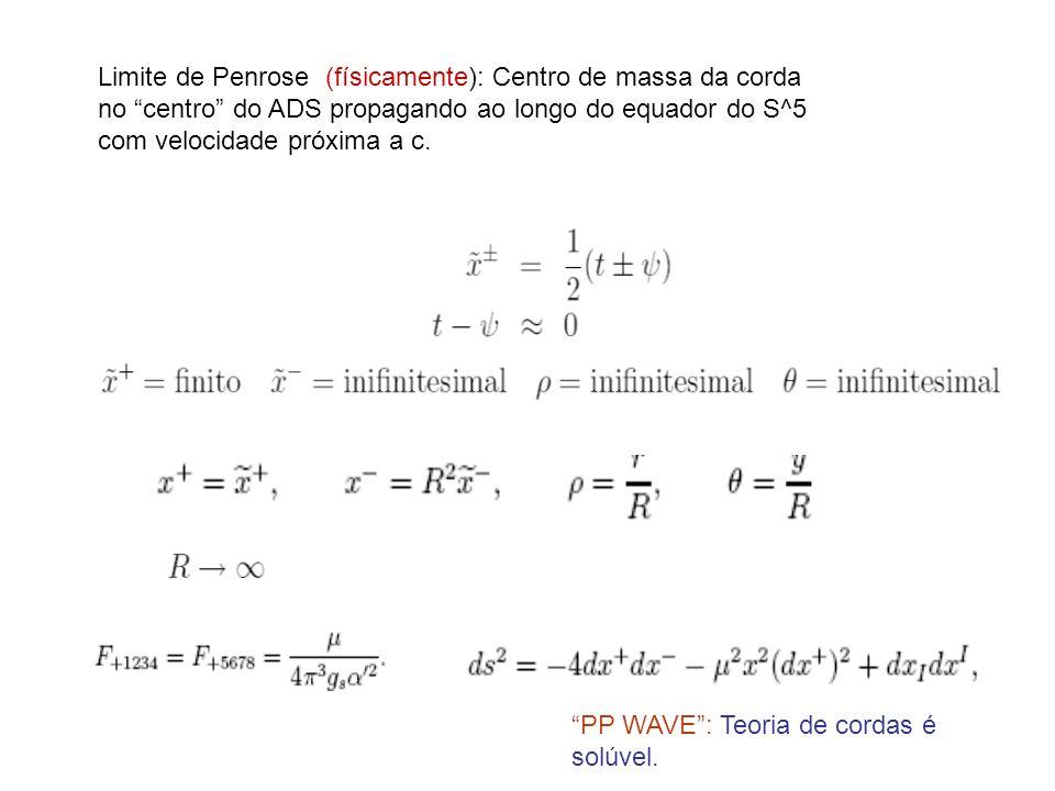 Limite de Penrose (físicamente): Centro de massa da corda no centro do ADS propagando ao longo do equador do S^5 com velocidade próxima a c. PP WAVE: