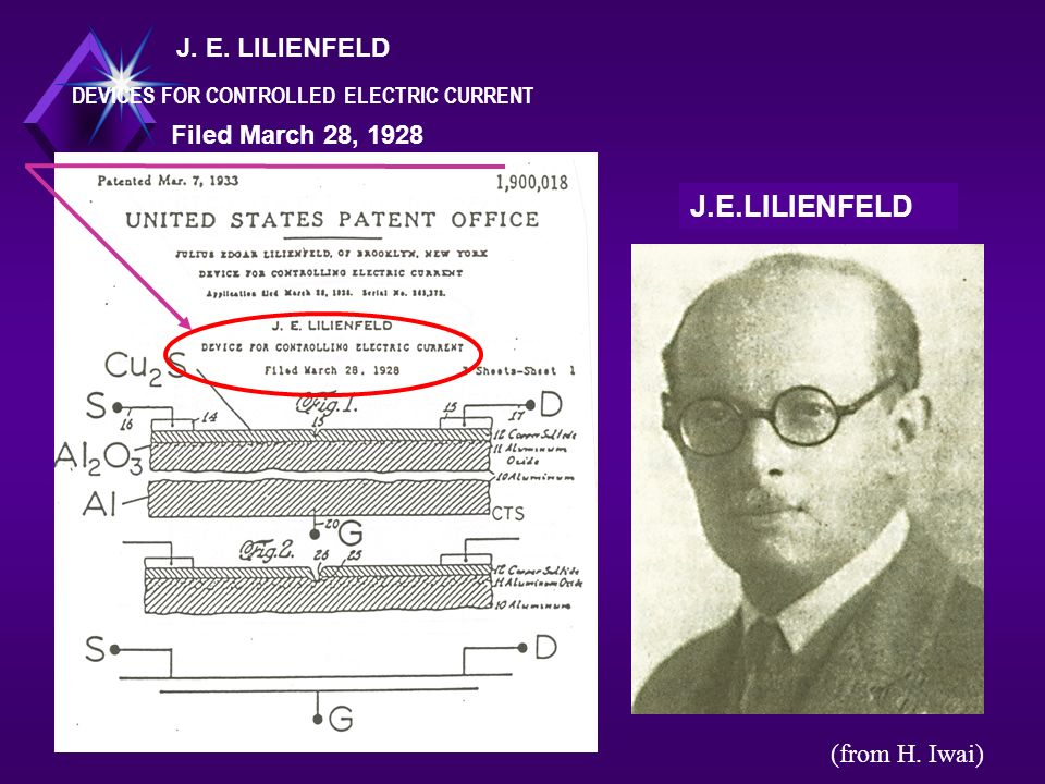 J.E.LILIENFELD DEVICES FOR CONTROLLED ELECTRIC CURRENT Filed March 28, 1928 (from H. Iwai)