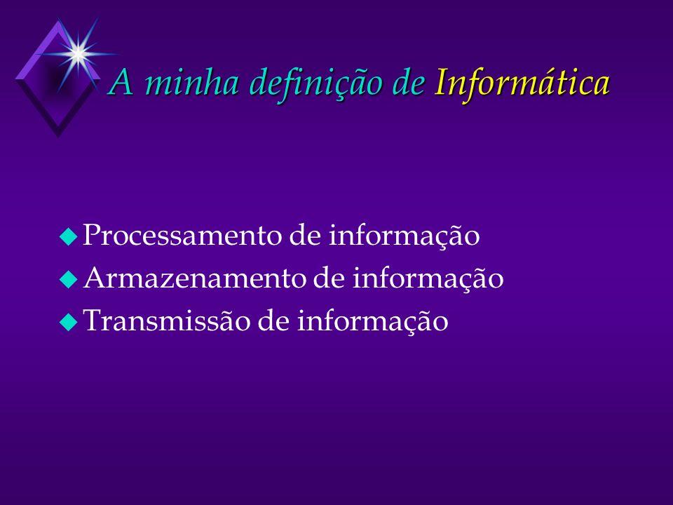 A minha definição de Informática u Processamento de informação u Armazenamento de informação u Transmissão de informação