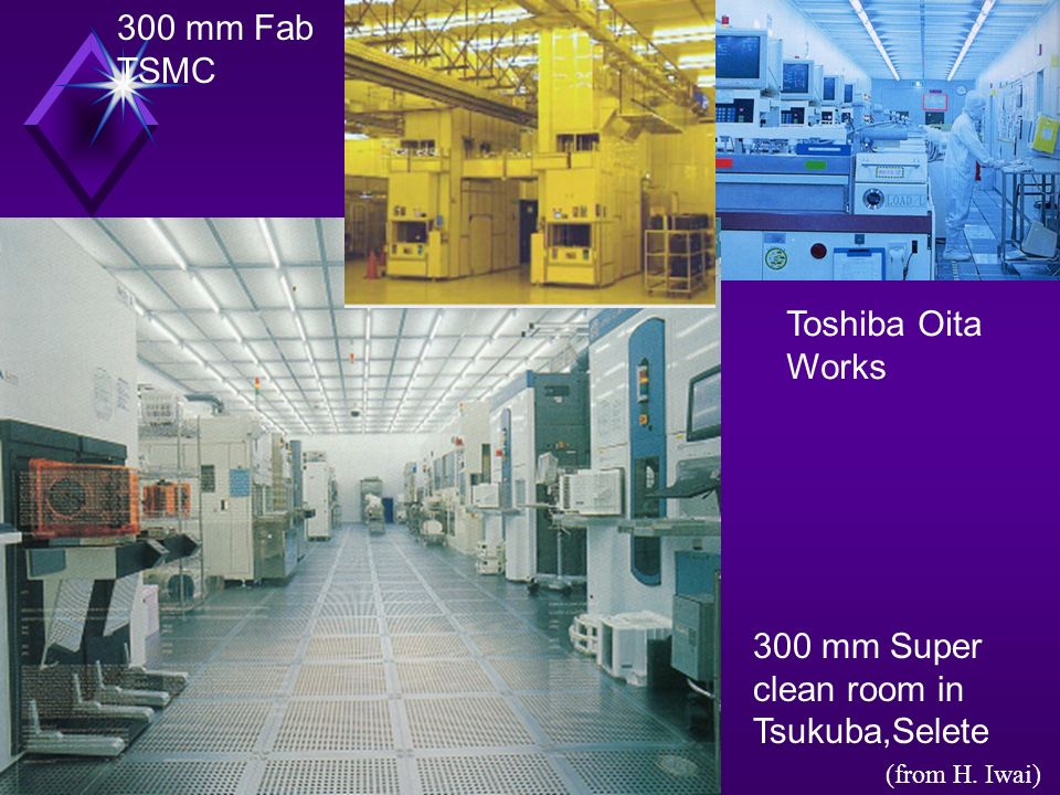 300 mm Super clean room in Tsukuba,Selete Toshiba Oita Works 300 mm Fab TSMC (from H. Iwai)