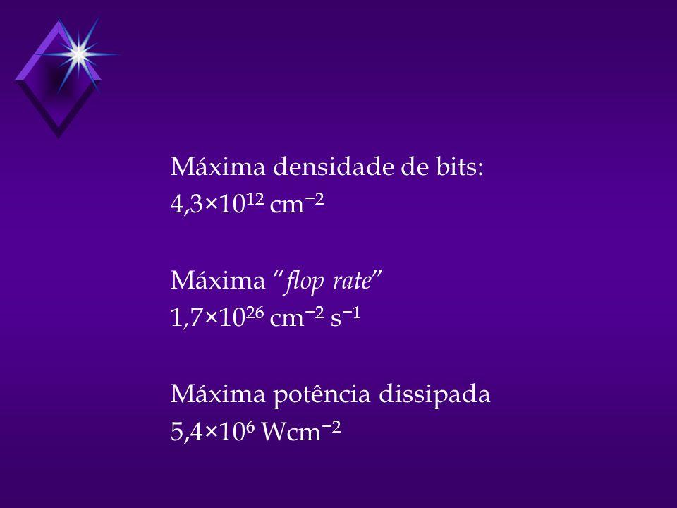 Máxima densidade de bits: 4,3×10 12 cm 2 Máxima flop rate 1, 7×10 26 cm 2 s 1 Máxima potência dissipada 5,4×10 6 Wcm 2