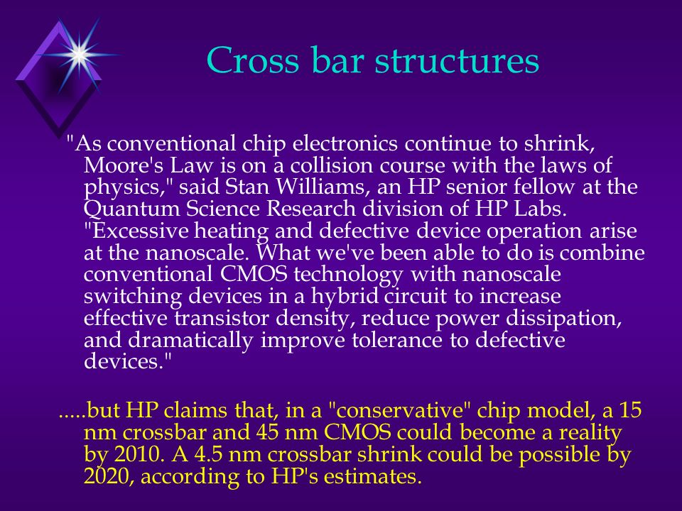 As conventional chip electronics continue to shrink, Moore s Law is on a collision course with the laws of physics, said Stan Williams, an HP senior fellow at the Quantum Science Research division of HP Labs.