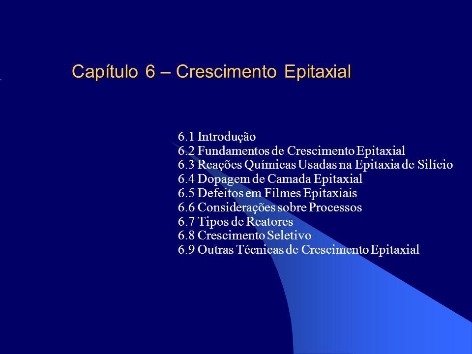 Capítulo 6 – Crescimento Epitaxial 6.1 Introdução 6.2 Fundamentos de Crescimento Epitaxial 6.3 Reações Químicas Usadas na Epitaxia de Silício 6.4 Dopa