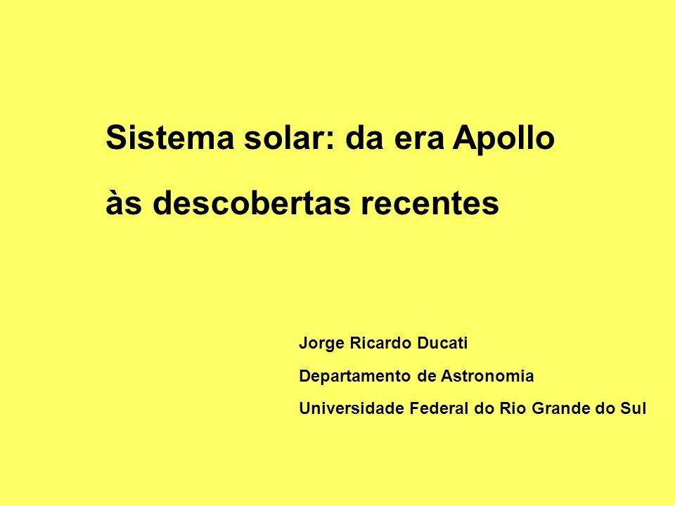 Sistema solar: da era Apollo às descobertas recentes Jorge Ricardo Ducati Departamento de Astronomia Universidade Federal do Rio Grande do Sul