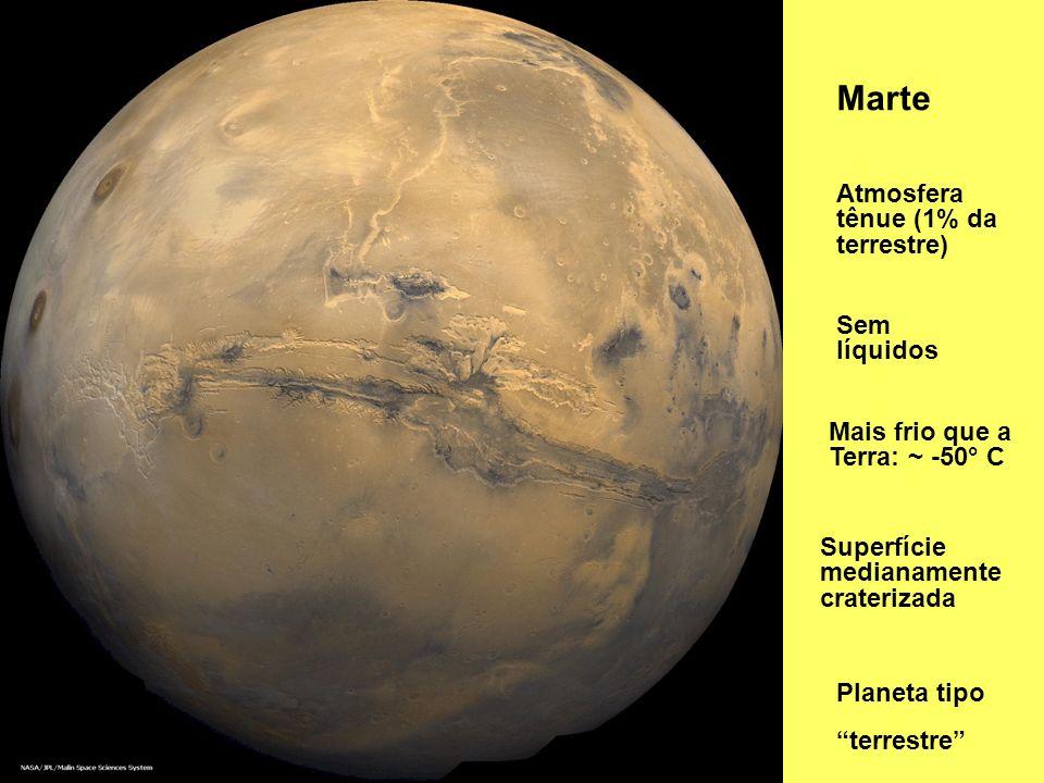 Marte Atmosfera tênue (1% da terrestre) Sem líquidos Superfície medianamente craterizada Planeta tipo terrestre Mais frio que a Terra: ~ -50° C