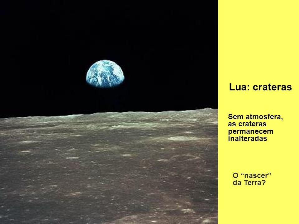 Lua: crateras Sem atmosfera, as crateras permanecem inalteradas O nascer da Terra?