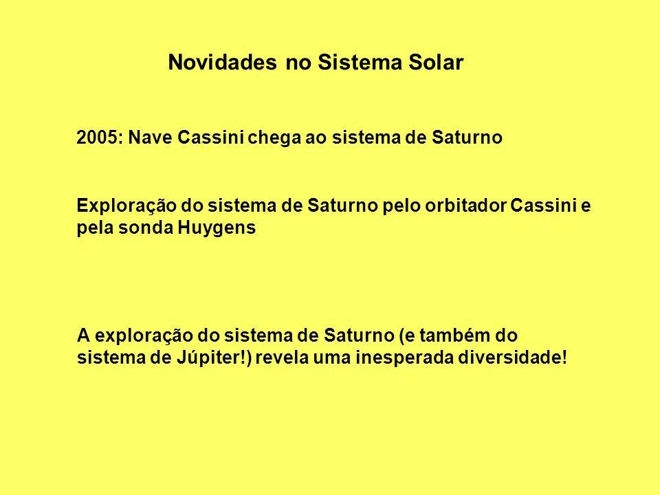 Novidades no Sistema Solar 2005: Nave Cassini chega ao sistema de Saturno Exploração do sistema de Saturno pelo orbitador Cassini e pela sonda Huygens