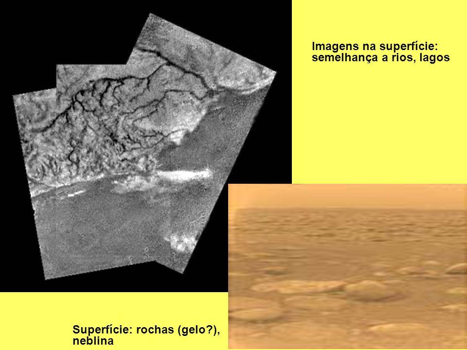 Imagens na superfície: semelhança a rios, lagos Superfície: rochas (gelo?), neblina