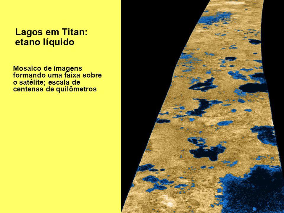 Lagos em Titan: etano líquido Mosaico de imagens formando uma faixa sobre o satélite; escala de centenas de quilômetros