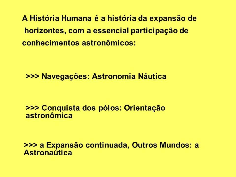 A História Humana é a história da expansão de horizontes, com a essencial participação de conhecimentos astronômicos: >>> Navegações: Astronomia Náuti