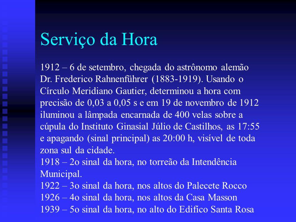 Serviço da Hora 1912 – 6 de setembro, chegada do astrônomo alemão Dr.