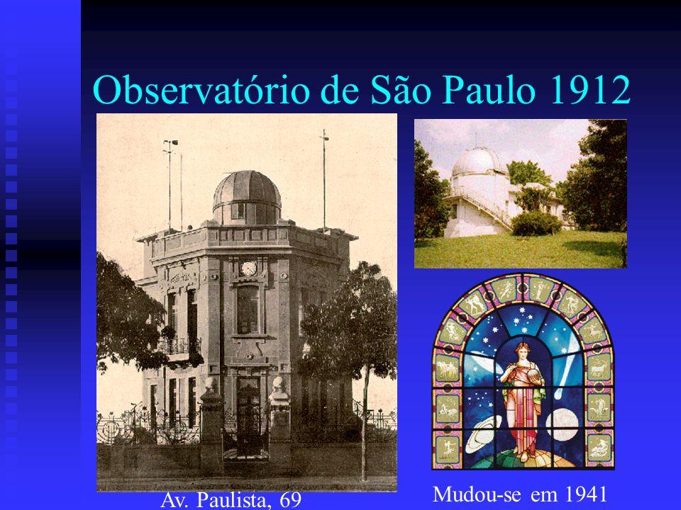Observatório de São Paulo 1912 Av. Paulista, 69 Mudou-se em 1941