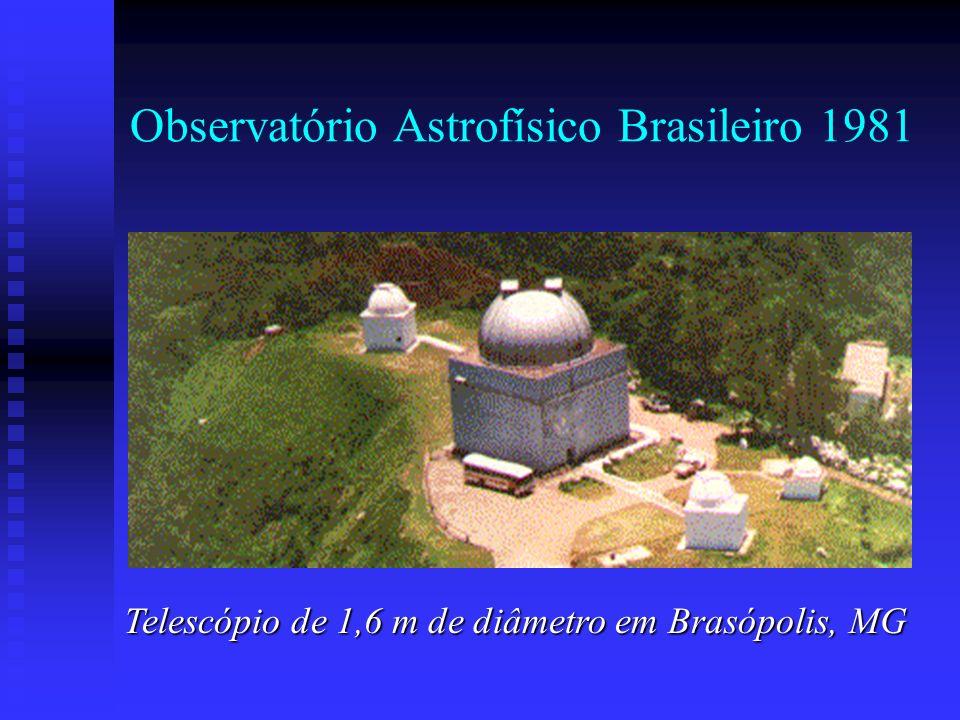 Observatório Astrofísico Brasileiro 1981 Telescópio de 1,6 m de diâmetro em Brasópolis, MG