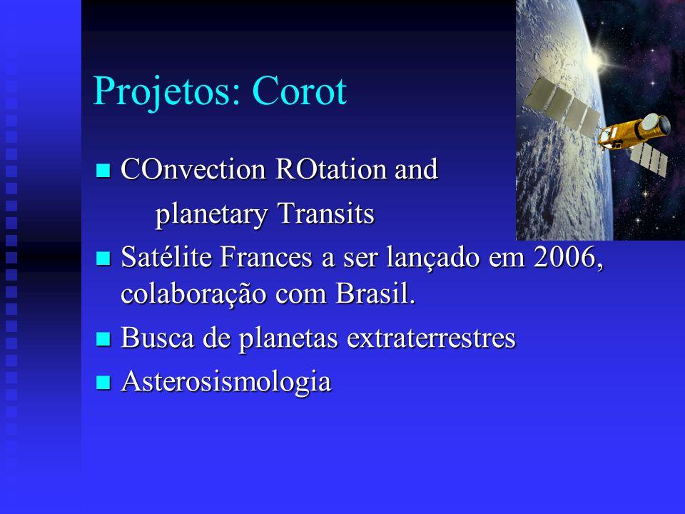 Projetos: Corot COnvection ROtation and COnvection ROtation and planetary Transits planetary Transits Satélite Frances a ser lançado em 2006, colabora