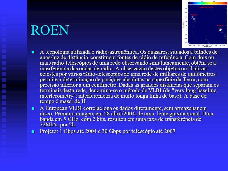 ROEN A tecnologia utilizada é rádio-astronômica. Os quasares, situados a bilhões de anos-luz de distância, constituem fontes de rádio de referência. C