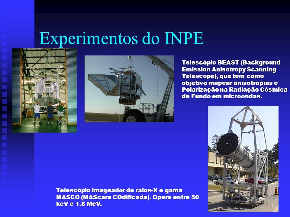 Experimentos do INPE Telescópio BEAST (Background Emission Anisotropy Scanning Telescope), que tem como objetivo mapear anisotropias e Polarização na