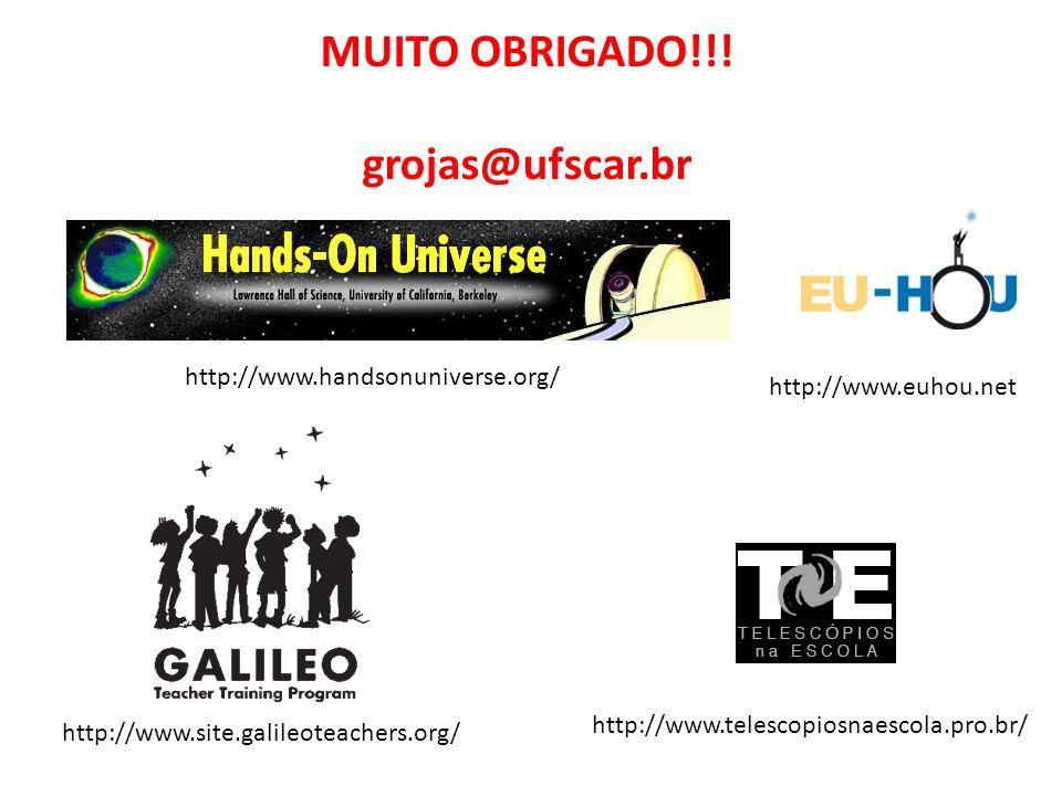 http://www.handsonuniverse.org/ http://www.site.galileoteachers.org/ http://www.euhou.net MUITO OBRIGADO!!! grojas@ufscar.br http://www.telescopiosnae