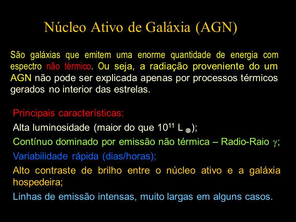 Núcleo Ativo de Galáxia (AGN) São galáxias que emitem uma enorme quantidade de energia com espectro não térmico. O u seja, a radiação proveniente do u