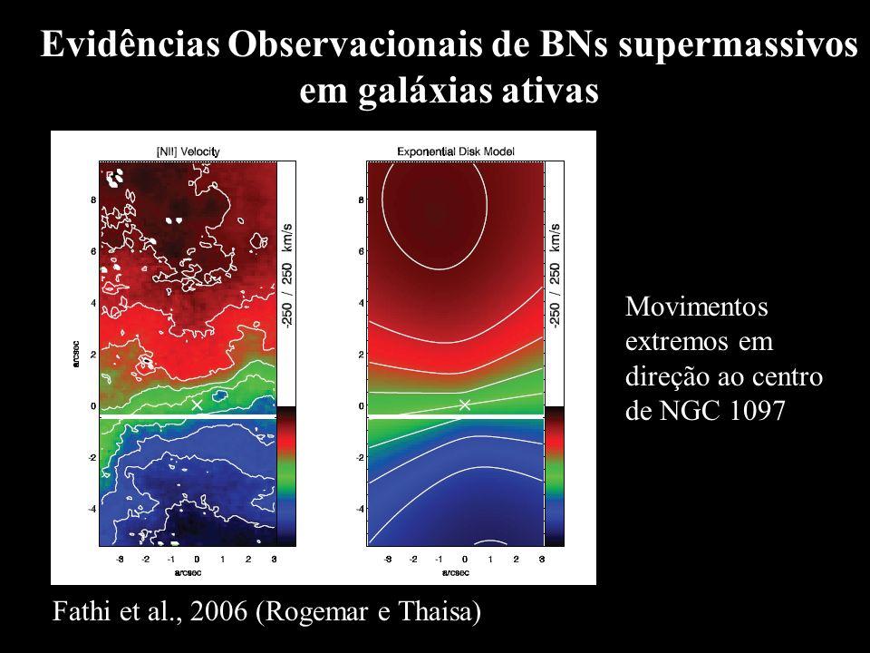 Evidências Observacionais de BNs supermassivos em galáxias ativas Movimentos extremos em direção ao centro de NGC 1097 Fathi et al., 2006 (Rogemar e T