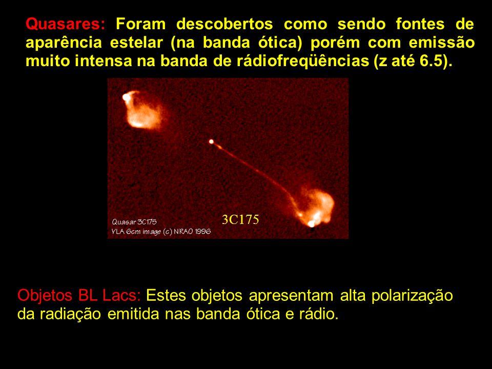 Quasares: Foram descobertos como sendo fontes de aparência estelar (na banda ótica) porém com emissão muito intensa na banda de rádiofreqüências (z at