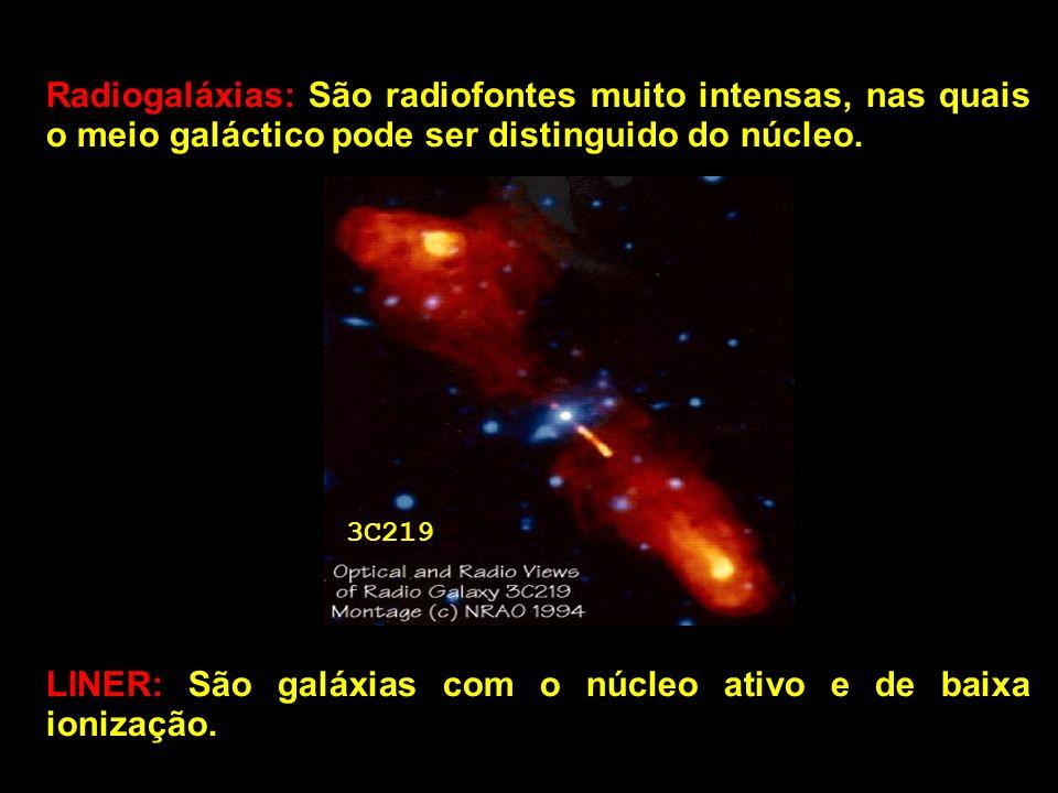 Radiogaláxias: São radiofontes muito intensas, nas quais o meio galáctico pode ser distinguido do núcleo. 3C219 LINER: São galáxias com o núcleo ativo