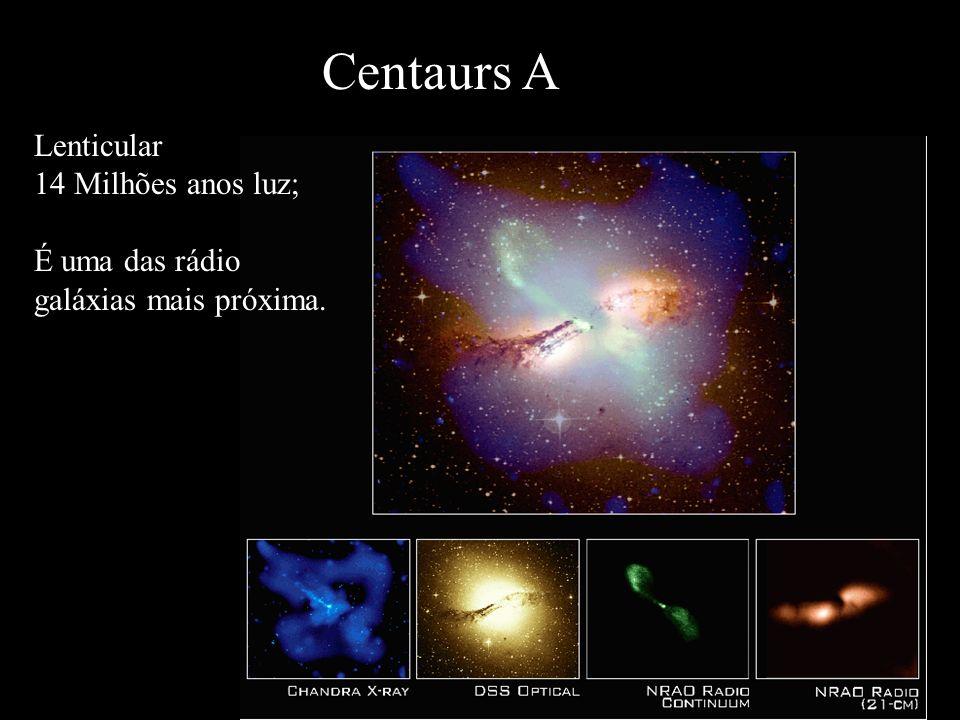 Centaurs A Lenticular 14 Milhões anos luz; É uma das rádio galáxias mais próxima.