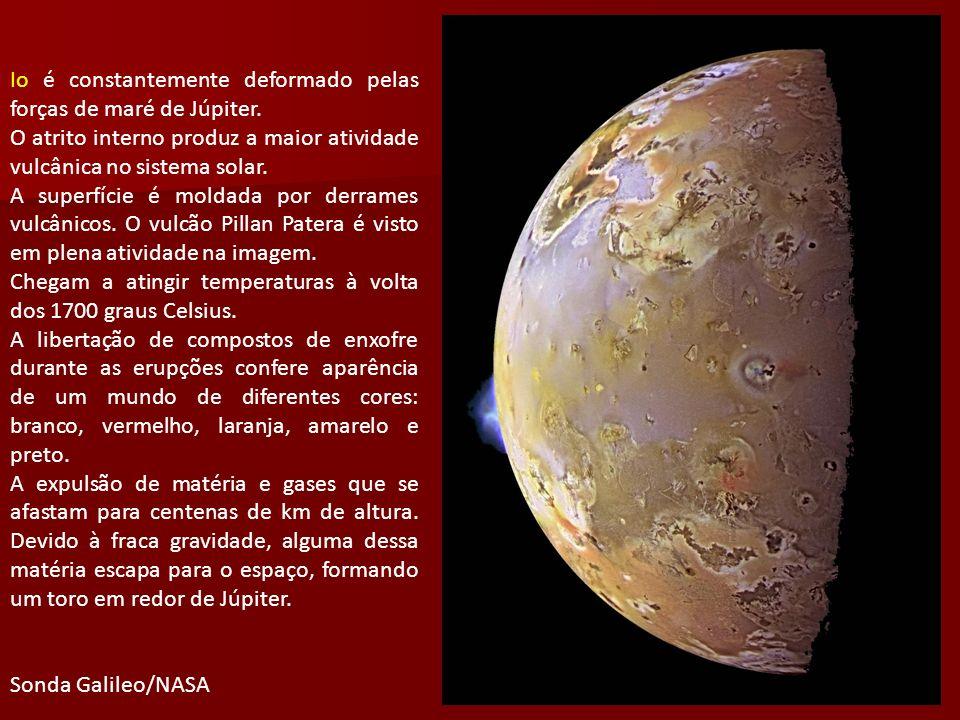 Io é constantemente deformado pelas forças de maré de Júpiter. O atrito interno produz a maior atividade vulcânica no sistema solar. A superfície é mo