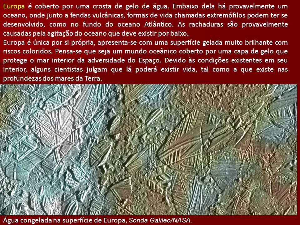 Europa é coberto por uma crosta de gelo de água. Embaixo dela há provavelmente um oceano, onde junto a fendas vulcânicas, formas de vida chamadas extr