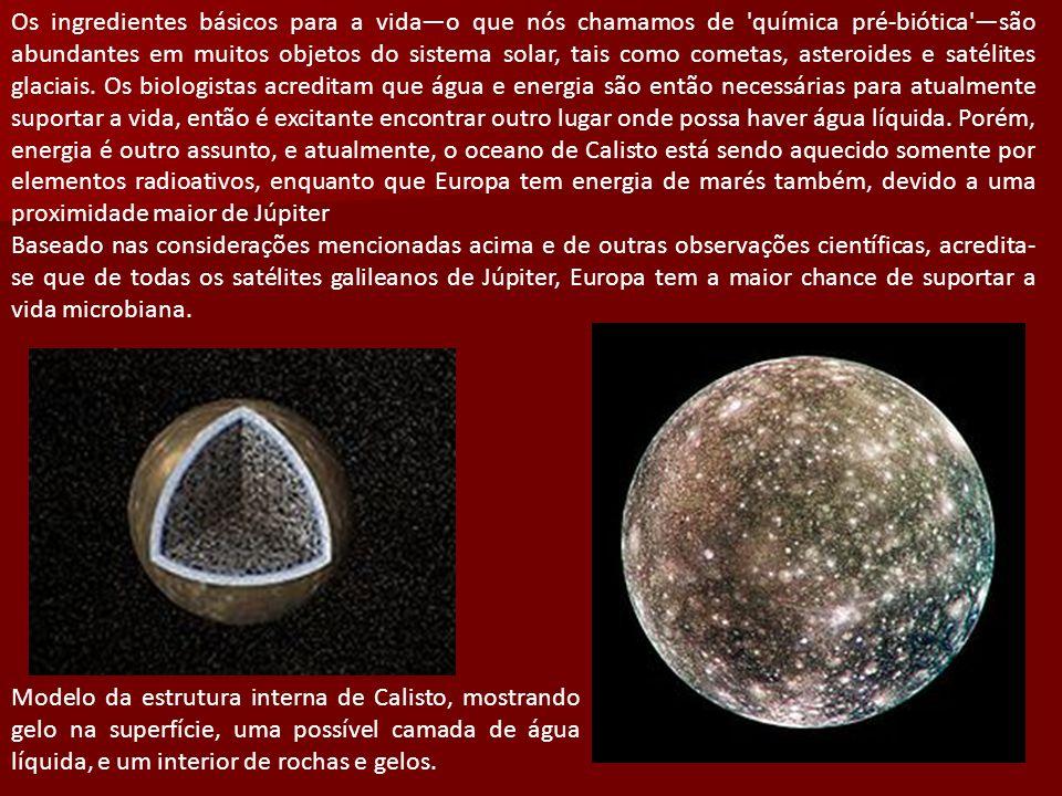 Os ingredientes básicos para a vidao que nós chamamos de química pré-biótica são abundantes em muitos objetos do sistema solar, tais como cometas, asteroides e satélites glaciais.