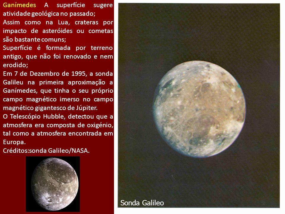 Ganímedes A superfície sugere atividade geológica no passado; Assim como na Lua, crateras por impacto de asteróides ou cometas são bastante comuns; Superfície é formada por terreno antigo, que não foi renovado e nem erodido; Em 7 de Dezembro de 1995, a sonda Galileu na primeira aproximação a Ganímedes, que tinha o seu próprio campo magnético imerso no campo magnético gigantesco de Júpiter.
