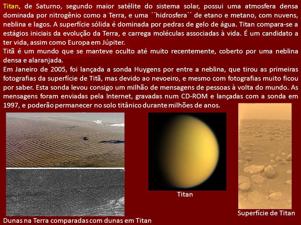 Titan, de Saturno, segundo maior satélite do sistema solar, possui uma atmosfera densa dominada por nitrogênio como a Terra, e uma ´´hidrosfera´´ de etano e metano, com nuvens, neblina e lagos.