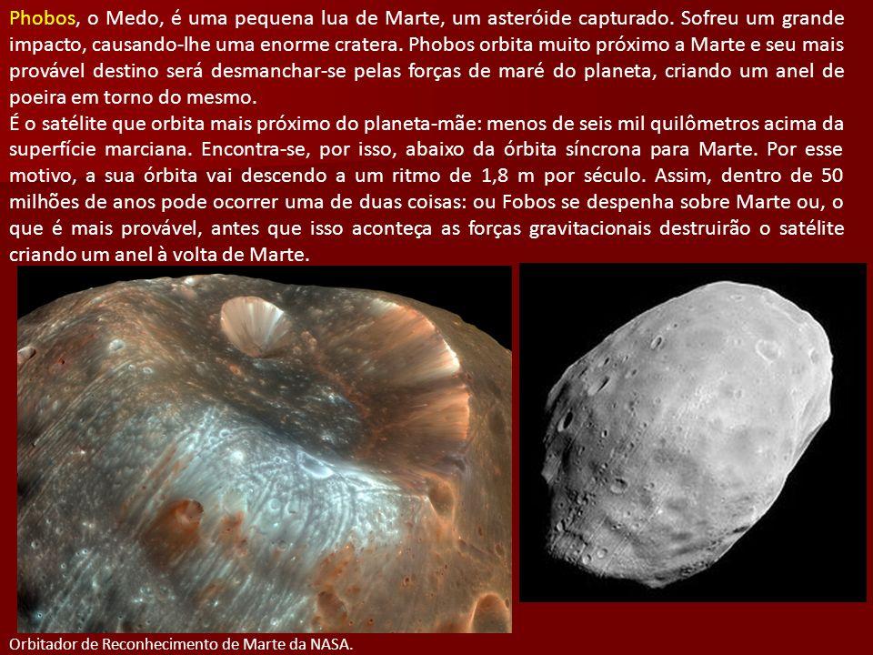 Phobos, o Medo, é uma pequena lua de Marte, um asteróide capturado. Sofreu um grande impacto, causando-lhe uma enorme cratera. Phobos orbita muito pró