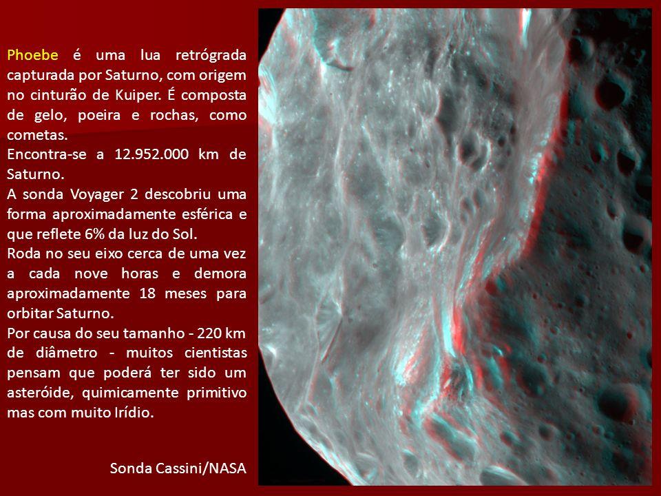 Phoebe é uma lua retrógrada capturada por Saturno, com origem no cinturão de Kuiper. É composta de gelo, poeira e rochas, como cometas. Encontra-se a
