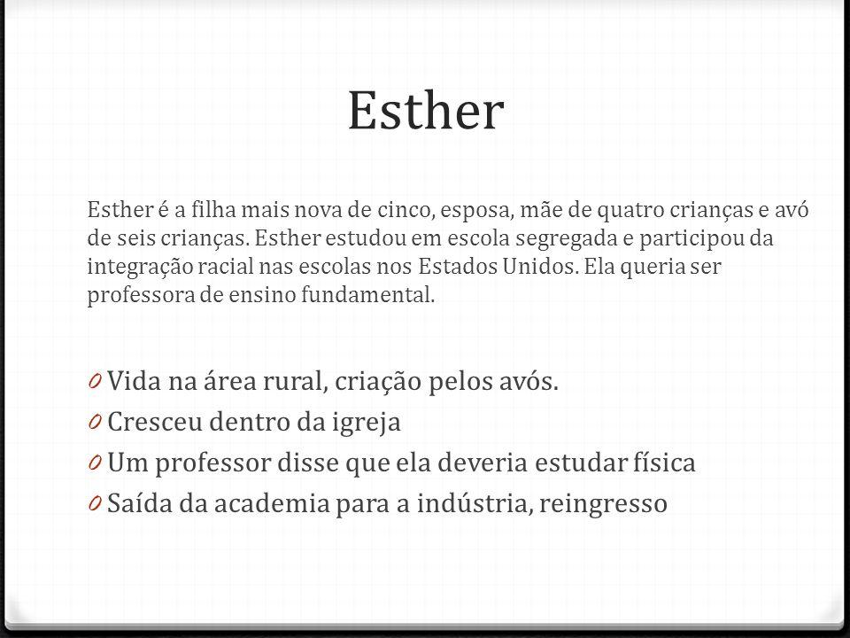 Esther Esther é a filha mais nova de cinco, esposa, mãe de quatro crianças e avó de seis crianças. Esther estudou em escola segregada e participou da