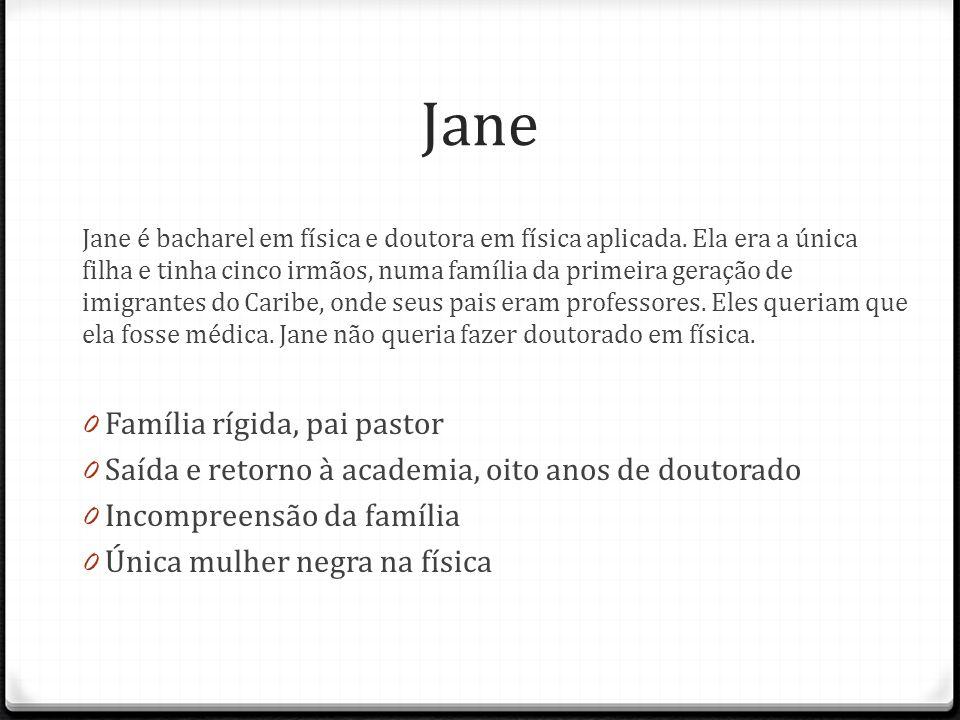 Jane Jane é bacharel em física e doutora em física aplicada. Ela era a única filha e tinha cinco irmãos, numa família da primeira geração de imigrante