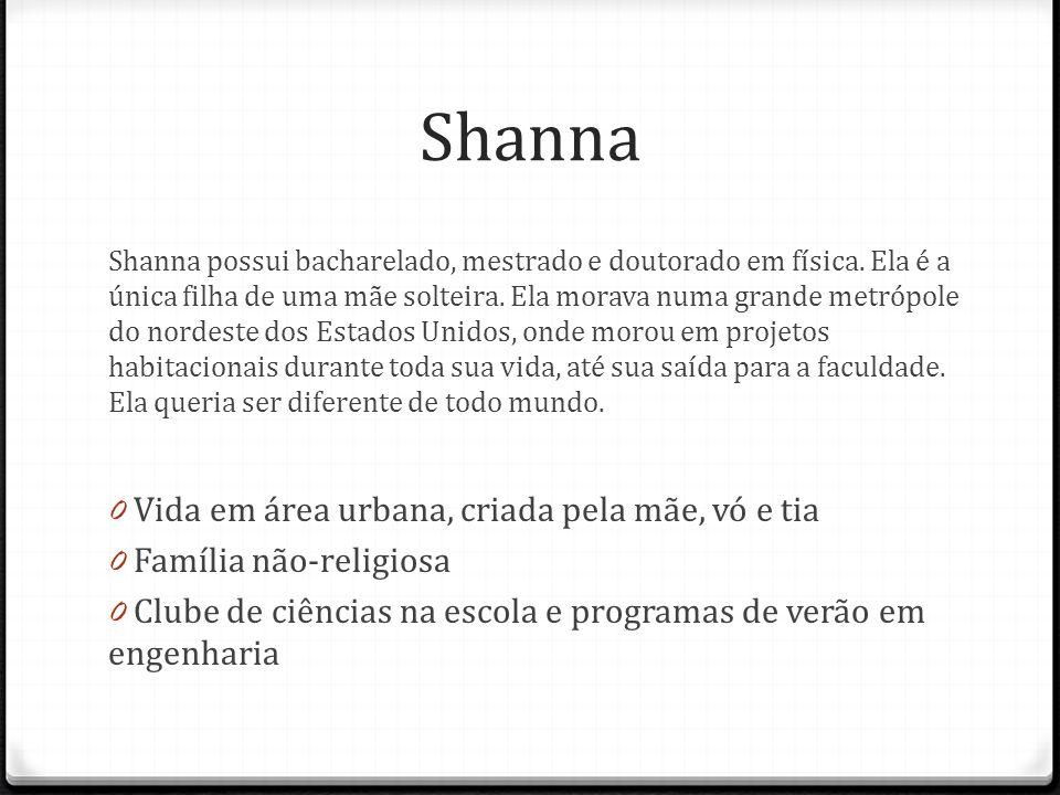 Shanna Shanna possui bacharelado, mestrado e doutorado em física. Ela é a única filha de uma mãe solteira. Ela morava numa grande metrópole do nordest