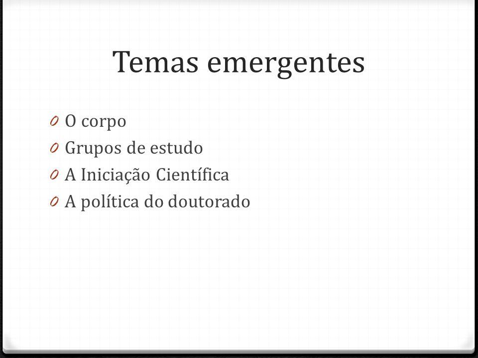 Temas emergentes 0 O corpo 0 Grupos de estudo 0 A Iniciação Científica 0 A política do doutorado