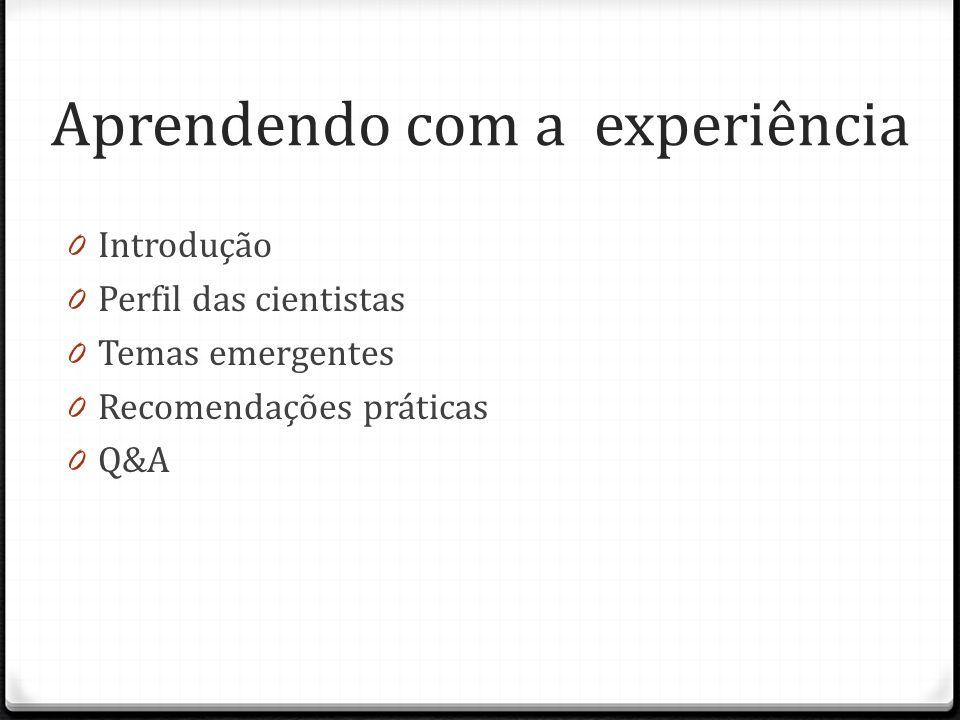 Aprendendo com a experiência 0 Introdução 0 Perfil das cientistas 0 Temas emergentes 0 Recomendações práticas 0 Q&A