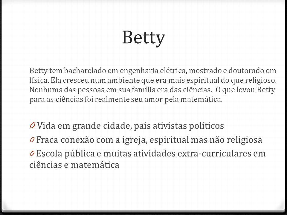 Betty Betty tem bacharelado em engenharia elétrica, mestrado e doutorado em física. Ela cresceu num ambiente que era mais espiritual do que religioso.