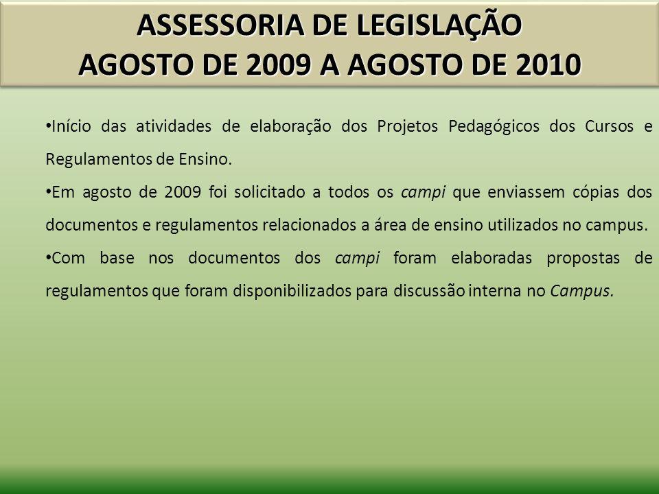 ASSESSORIA DE LEGISLAÇÃO AGOSTO DE 2009 A AGOSTO DE 2010 Início das atividades de elaboração dos Projetos Pedagógicos dos Cursos e Regulamentos de Ens