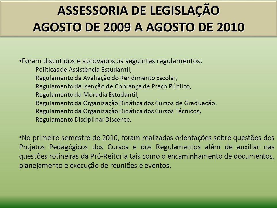 ASSESSORIA DE LEGISLAÇÃO AGOSTO DE 2009 A AGOSTO DE 2010 Foram discutidos e aprovados os seguintes regulamentos: Políticas de Assistência Estudantil,