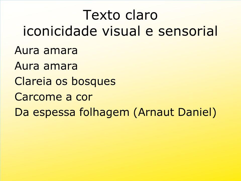 Texto claro iconicidade visual e sensorial Aura amara Clareia os bosques Carcome a cor Da espessa folhagem (Arnaut Daniel)