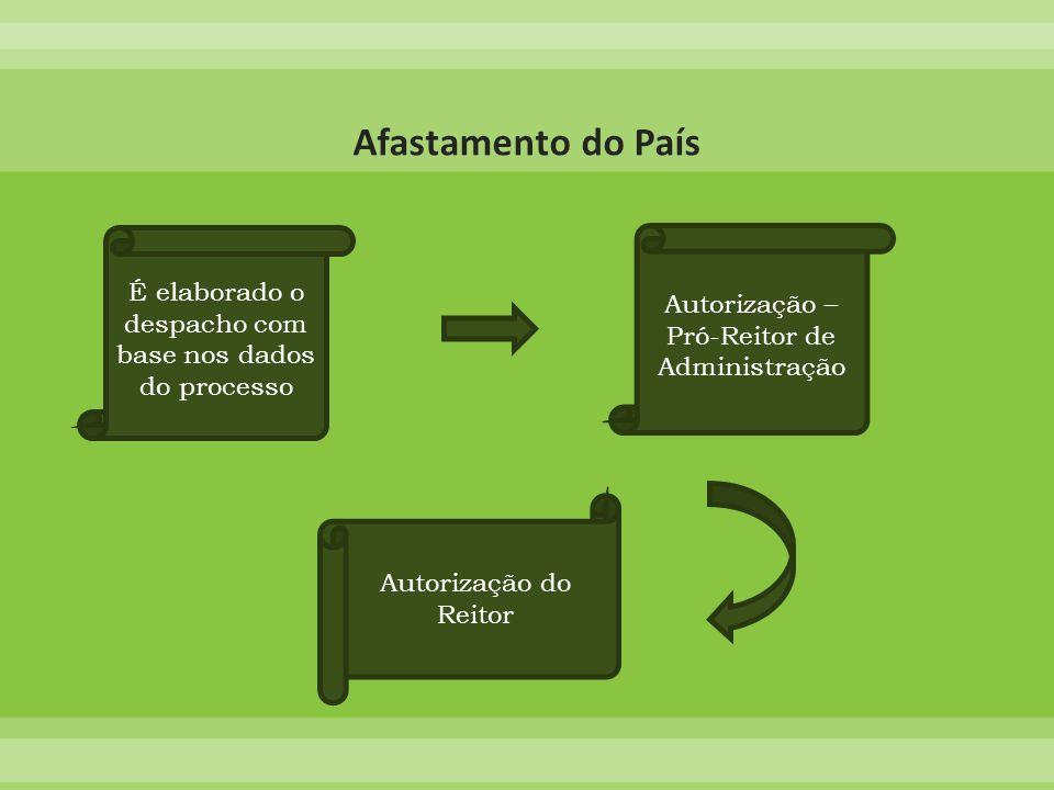 É elaborado o despacho com base nos dados do processo Autorização – Pró-Reitor de Administração Autorização do Reitor