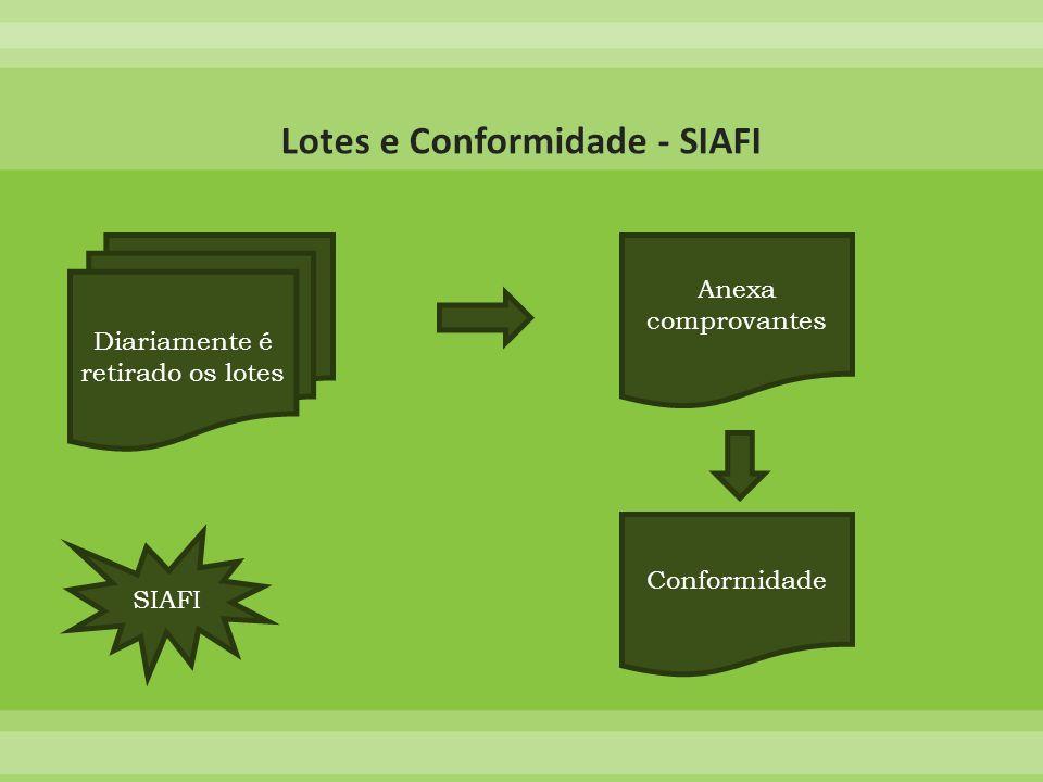 Diariamente é retirado os lotes Anexa comprovantes Conformidade SIAFI