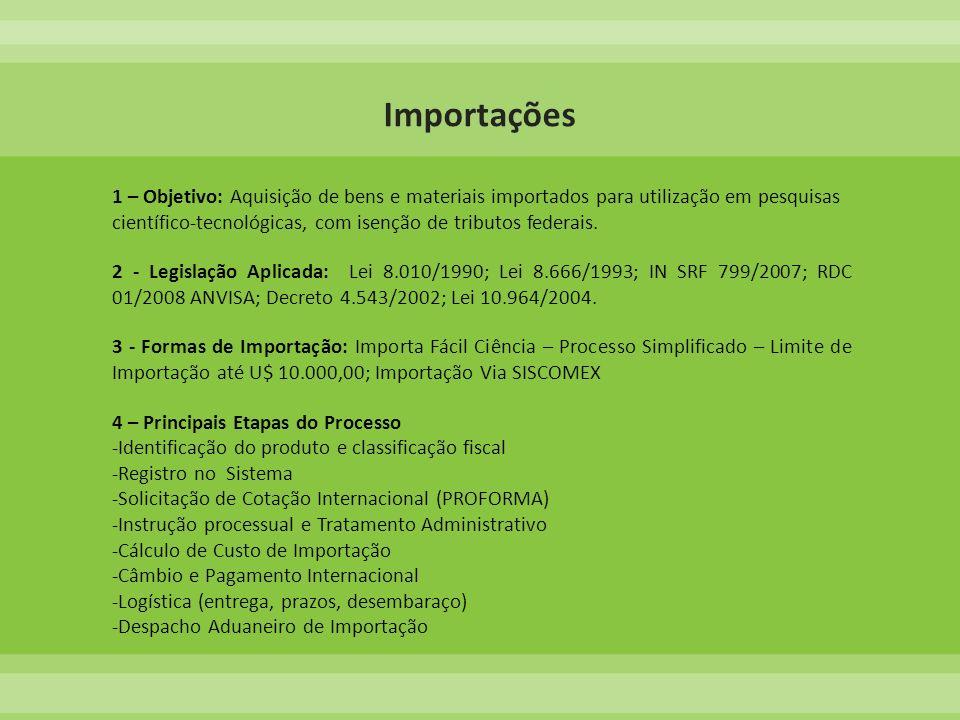 1 – Objetivo: Aquisição de bens e materiais importados para utilização em pesquisas científico-tecnológicas, com isenção de tributos federais. 2 - Leg