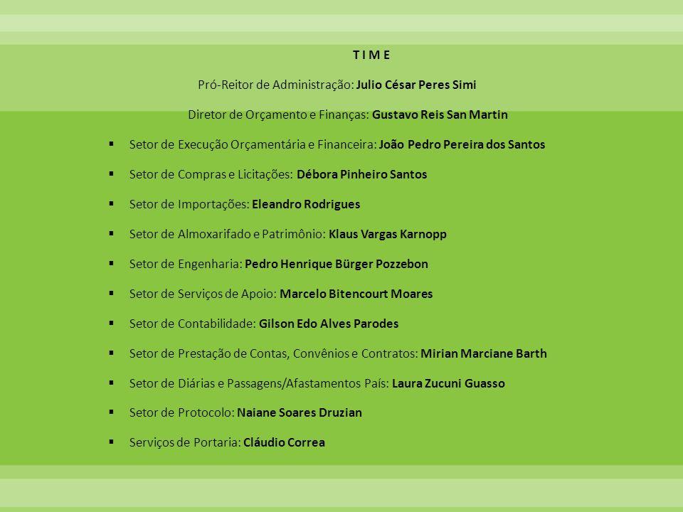 T I M E Pró-Reitor de Administração: Julio César Peres Simi Diretor de Orçamento e Finanças: Gustavo Reis San Martin Setor de Execução Orçamentária e