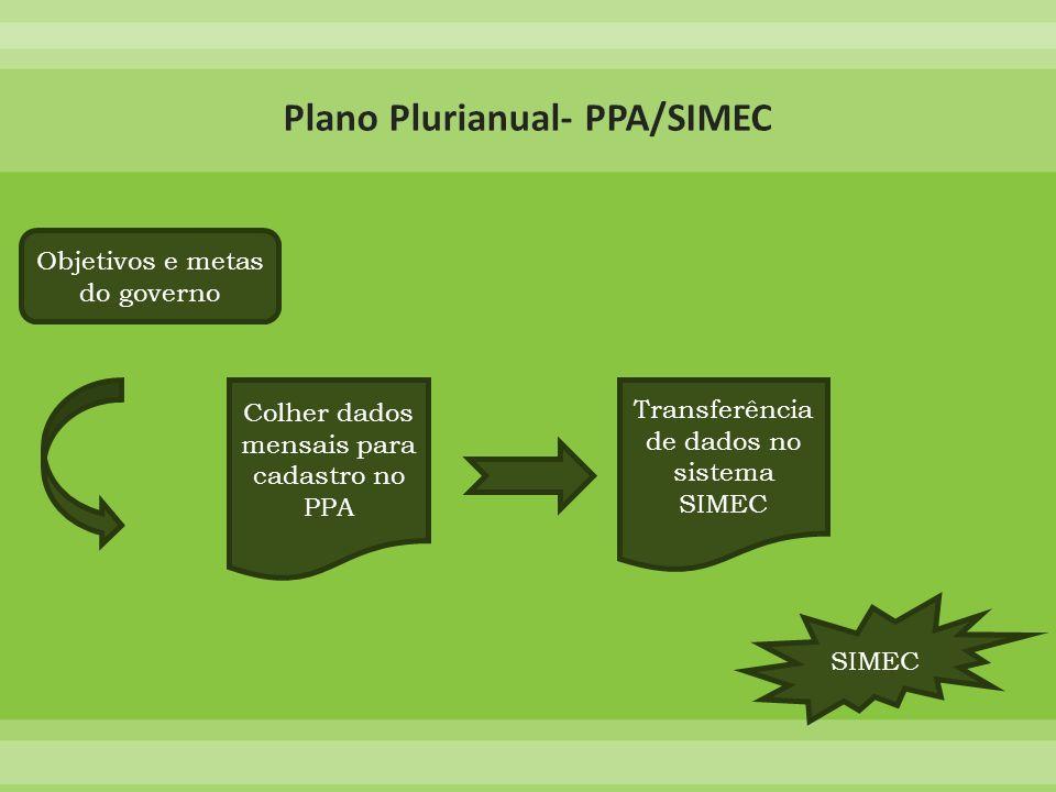 Transferência de dados no sistema SIMEC Colher dados mensais para cadastro no PPA Objetivos e metas do governo SIMEC
